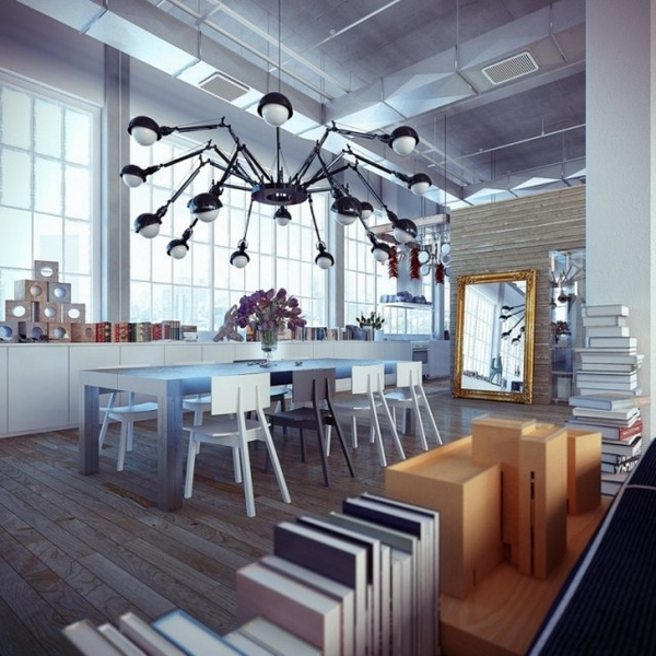 Modern Industrial Spider Chandelier